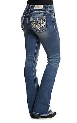e8c8146304e6 Miss Me Women s Aztec Sequin Embroidered Medium Wash Boot Cut Jeans