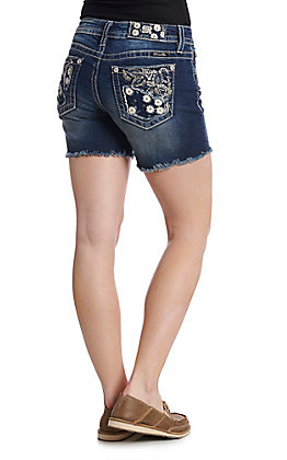 Miss Me Women's Floral Madness Frayed Denim Shorts