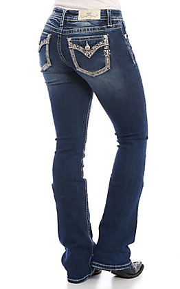 Miss Me Women's Stud Flap Pocket Medium Wash Boot Cut Jeans