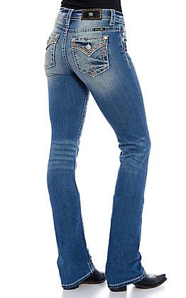 Miss Me Women's Medium Wash X Stitched Pocket Slim Boot Cut Jeans