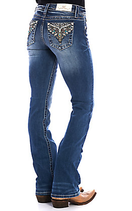 Miss Me Women's Dark Wash Sweet Escape Boot Cut Jeans