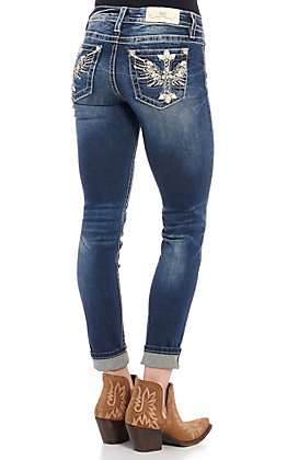 Miss Me Women's Dark Wash Feather Me Up Skinny Jeans