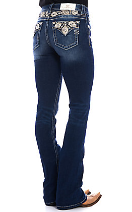 Miss Me Women's Dark Wash Sweet Feeling Embroidered Boot Cut Jeans