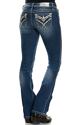 Miss Me Women's Dark Wash with Embroidery and Turquoise Stones Faux Flap Mid Rise Boot Cut Jeans