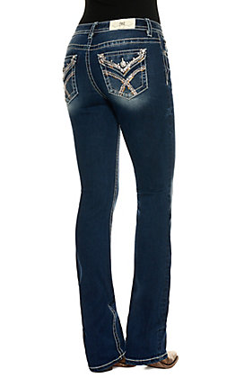 Miss Me Women's Chloe Dark Wash Mid Rise with Embroidered Faux Flap Pockets Boot Cut Jeans