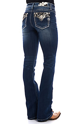 Miss Me Women's Dark Wash Free Love Embroidered Boot Cut Jeans