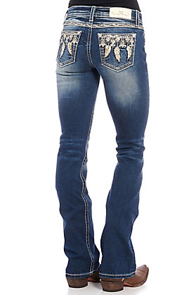 Miss Me Women's Dark Wash Feather Embroidered Bootcut Jeans