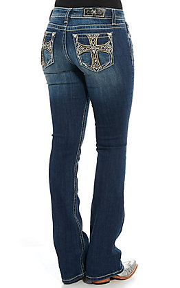 Miss Me Women's Cross Embellished Boot Cut Jeans
