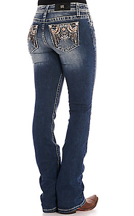 Miss Me Women's Dark Wash Tribal Embroidery Boot Cut Jeans