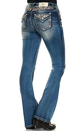 Miss Me Seeing Paisley Medium Wash Paisley Inlay Mid Rise Boot Cut Jeans
