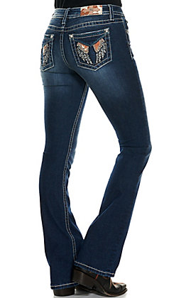 Miss Me Women's Soaring High Dark Wash with Cow Wings Mid Rise Boot Cut Jeans