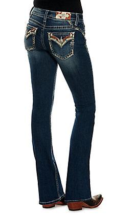 Miss Me Women's Chloe Cow Trim Boot Cut Jeans 32 Inseam