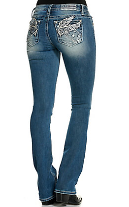Miss Me Women's Medium Wash Wings with Stars Slim Boot Cut Jeans