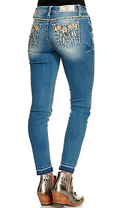 Miss Me Women's Light Wash Multi Colored Skull with Feathers and Flowers Skinny Leg Jeans