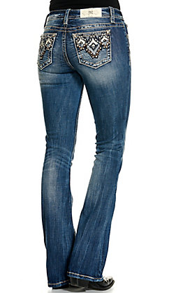 Miss Me Women's Medium Wash Aztec Embellished Boot Cut Jeans