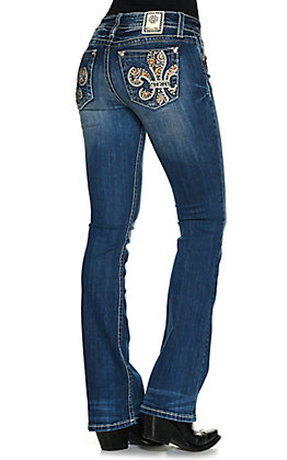 Miss Me Women's Chloe Medium Wash Multi Color Fleur de Lis Mid-Rise Boot Cut Jeans