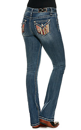 Miss Me Women's Chloe Aztec Print Pocket Medium Wash Pocket Boot Cut Jeans