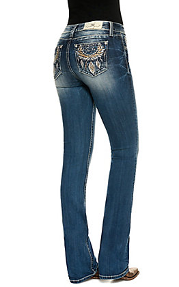 Miss Me Women's Hailey Medium Wash Mid Rise Open Back Pockets with Dreamcatcher Boot Cut Skinny Jeans