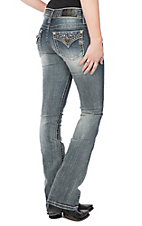 Miss Me Women's Distressed Light Wash Pocket and Waist Studed Boot Cut Jeans