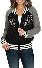 Derek Heart Women's Black and Grey w/ Floral Embroidery Sweater Knit Bomber Jacket