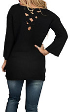 Allison Brittney Women's Black Cross Back Sweater Fashion Shirt