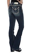 Miss Me Women's Dark Wash Feather Stitch Boot Cut Jeans