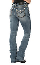 Miss Me Women's Light Wash Edged Stitching Open Flap Pocket Boot Cut Jeans