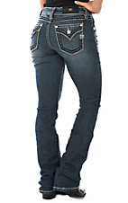 Miss Me Women's Dark Wash Thick Edge Stitching Boot Cut Jeans