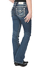 Miss Me Women's Medium Wash Thick Stitched Edge Open Flap Pocket & Yoke Boot Cut Jeans