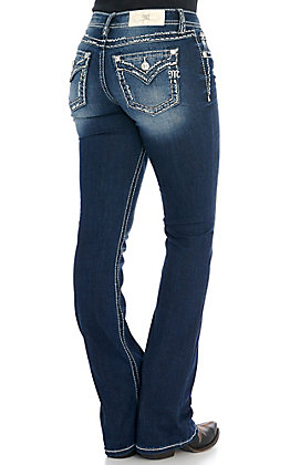 Miss Me Women's Dark Wash with Thick Stitching Boot Cut Jeans