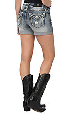 Miss Me Women's Medium Light Wash Thick Stitched Embroidered Open Flap Pocket Jean Shorts
