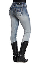 Miss Me Women's Medium Wash Attitude Straight Leg Jeans