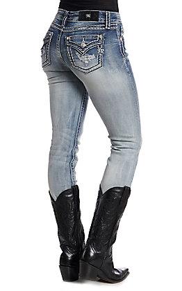 Miss Me Women's Medium Wash Attitude Straight Leg Jeans