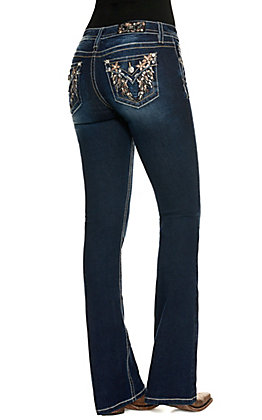 Miss Me Women's Dark Wash Mid Rise Faux Flap Pocket with Wings Boot Cut Skinny Jean