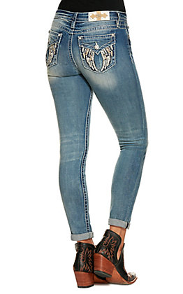 Miss Me Women's Medium Wash Plain Pocket Skinny Jeans