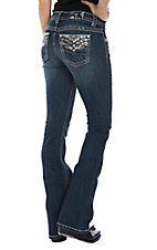 Miss Me Women's Dark Wash Criss Cross Stitch Boot Cut Jeans