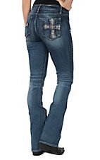 Miss Me Women's Dark Wash with Crystal Cross Open Pocket Boot Cut Jeans