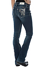 Miss Me Women's Dark Wash w/ Feather Design and Studs Boot Cut Jeans