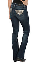 Miss Me Women's Dark Wash w/ Aztec Embroidered Crystals Boot Cut Jeans