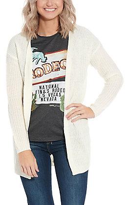 Derek Heart White Laced Back Sweater Cardigan