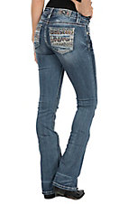 Miss Me Women's Medium Wash W/ Diamond Patchwork Boot Cut Jeans