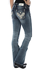 Miss Me Women's Medium Wash w/ Leafy Swirl Design and Studs Boot Cut Jeans