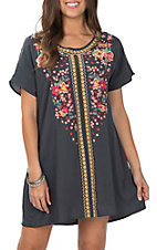 April Sky Women's Dark Grey Short Sleeve Embroidered Dress