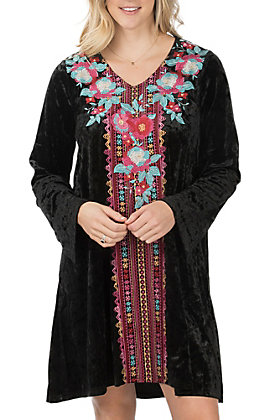 Andree Women's Black Floral Embroidery Long Sleeve Dress