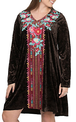 Andree Women's Chocolate Brown Floral Embroidery Long Sleeve Dress