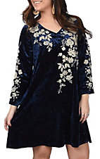 Andree Women's Navy Crushed Velvet Embroidered Dress