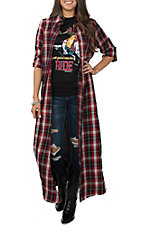 April Sky Women's Red Plaid Embroidered Duster