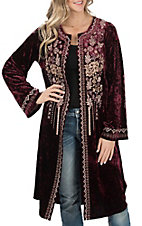 April Sky Women's Wine Velvet with Cream Embroidery Long Sleeve Kimono Cardigan
