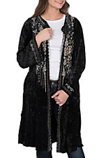 April Sky Women's Black Velvet with Cream Embroidery Long Sleeve Kimono Cardigan
