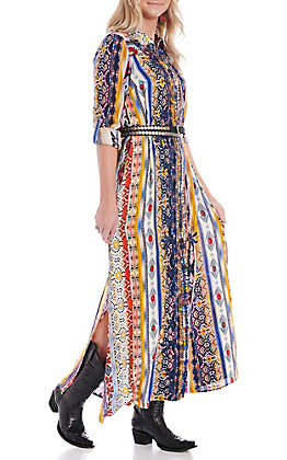 April Sky Women's Multi Print Long Sleeve Duster / Dress